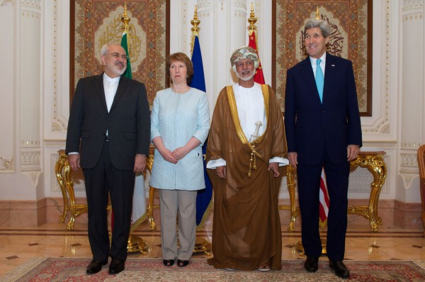 Foreign Minister Javad Zarif of Iran-Baroness Catherine Ashton of the European Union-Foreign Minister Yusuf bin Alawai of Oman-U.S. Secretary of State John Kerry