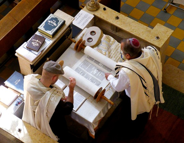 Reading the Torah at the Bimah in the synagogue