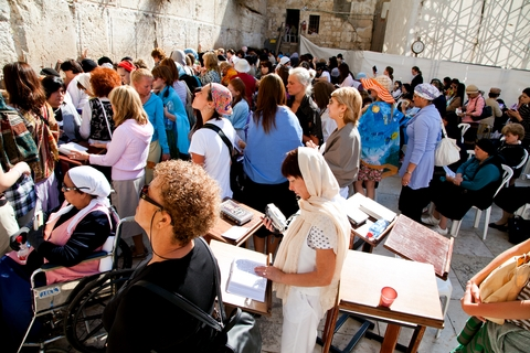 Jewish women pray at the Western (Wailing) Wall in Jerusalem.