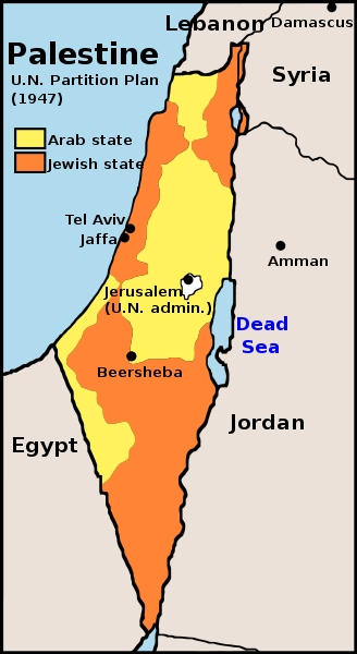 UN Partition Plan for Palestine map