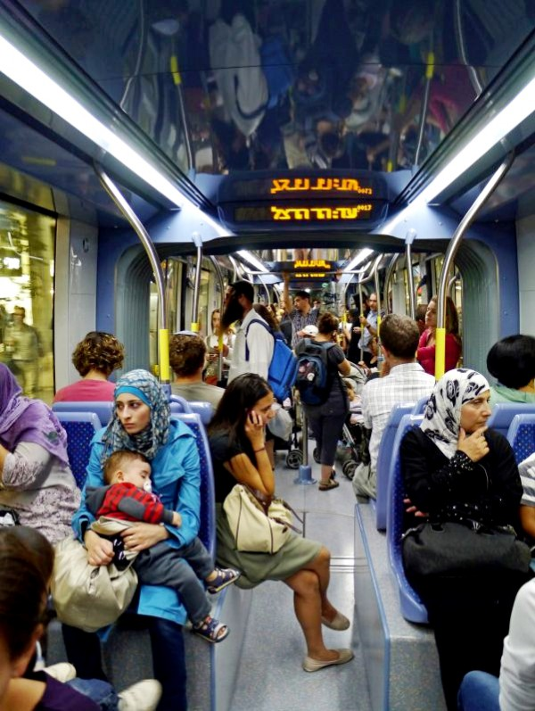 Jerusalem Light Rail_Arab and Jewish passengers_multicultural_Israel_commuting