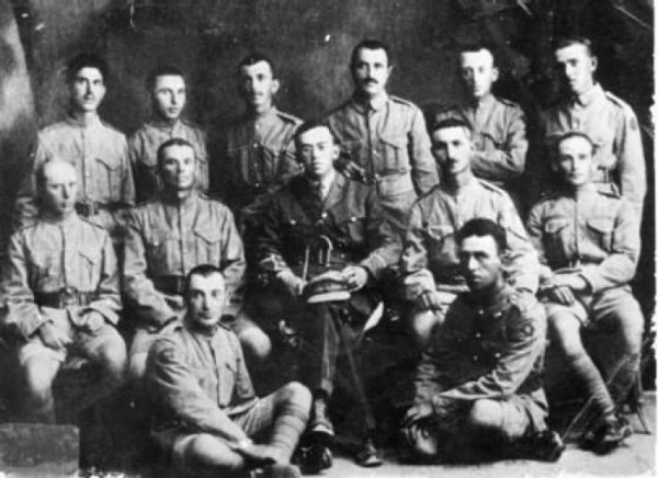 Ze'ev Jabotinsky with a group of Jewish Legion soldiers.