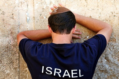 A man prays at the Western (Wailing) Wall in Jerusalem.