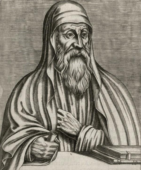 """An illustration of Origen from """"Les Vrais Portraits Et Vies Des Hommes Illustres"""" by André Thévet"""