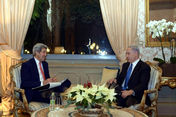 Netanyahu-Kerry-Rome-Palestinian UN Bid