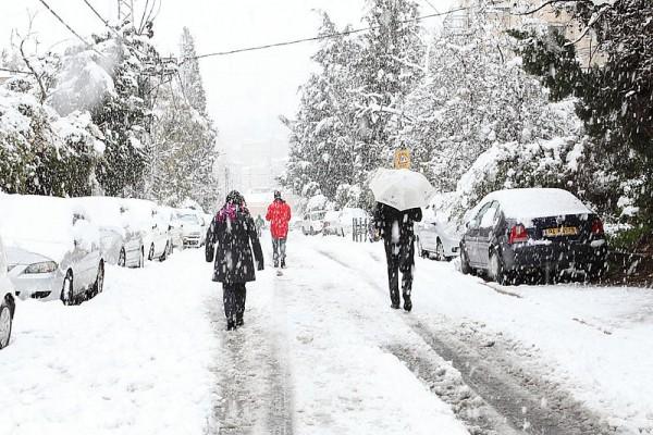 Winter snow in Jerusalem
