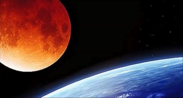 Blood moon over the earth (Youtube capture)