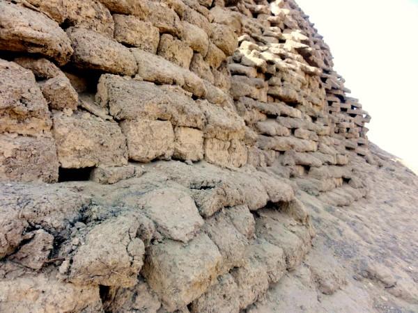 Closeup of the mud and straw bricks of Amenemhet III pyramid at Hawara, Egypt.