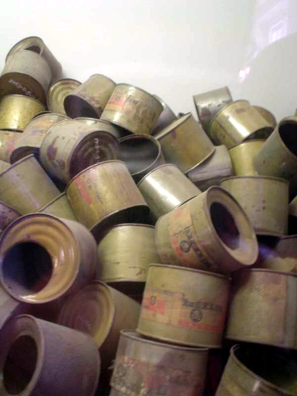 Empty poison gas canisters found by the Allies at the end of World War II.