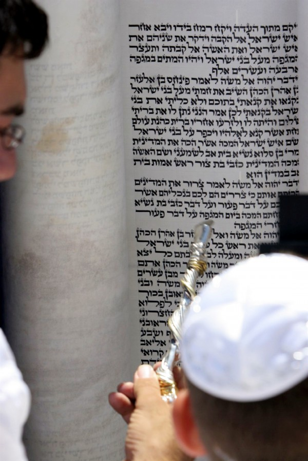 Reading the Torah using a silver and gold yad