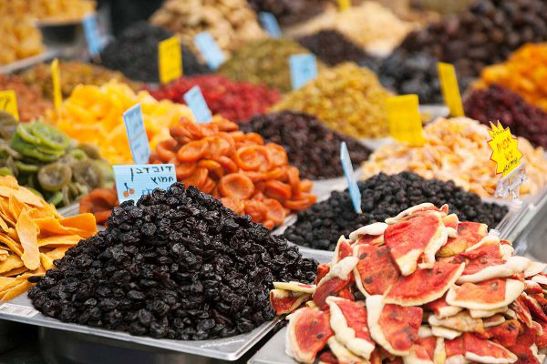 Dried fruits for sale in Israel.