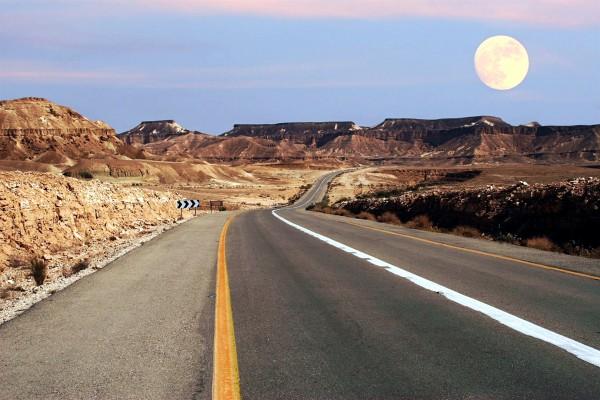 Full moon in Israel's Negev Desert