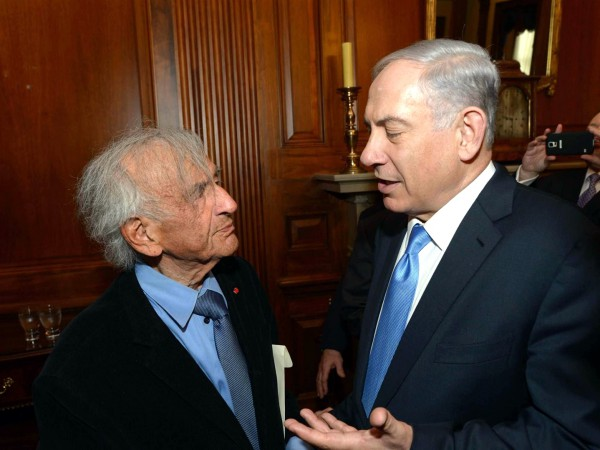 Prime Minister Benjamin Netanyahu meets with Nobel Peace Prize laureate Elie Wiesel. (GPO photo by Amos Ben Gershom)