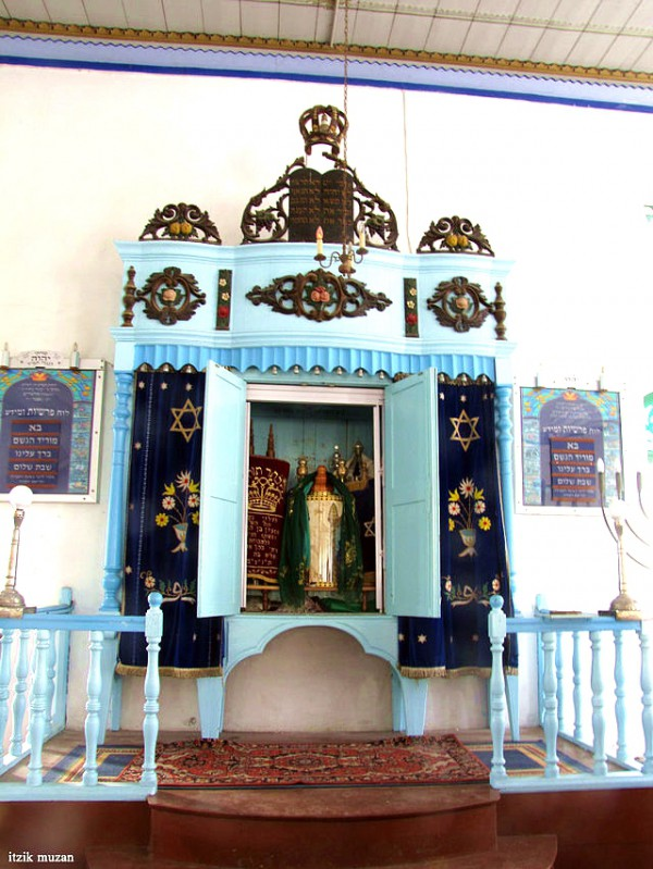 Torah scrolls in the Mikvah Israel Synagogue