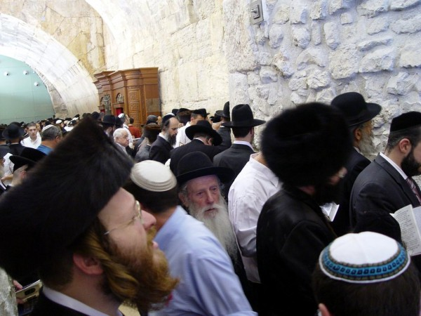 Jewish men gather to pray at the Western (Wailing) Wall in Jerusalem.
