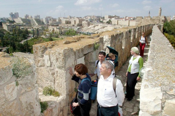 Contemplating Jerusalem from the walkway on the walls of Jerusalem.