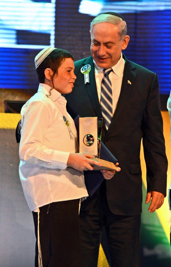 Eyal Yitzhak Matas-International Bible Quiz winner-Israel PM Benjamin Netanyahu