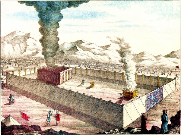 """Then the cloud covered the tent of meeting, and the glory of the LORD filled the Tabernacle."" (Exodus 40:34) (Image from page 10 of the 1874 Jewish Tabernacle and Priesthood)"