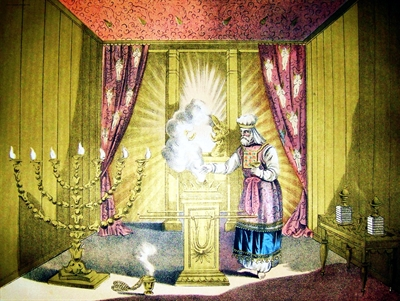 An illustration from the 1890 Holman Bible depicting the Holy Place and the Holy of Holies.