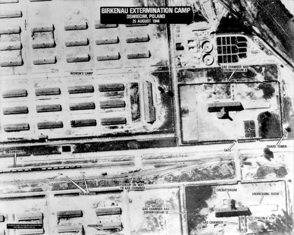 1944 aerial photograph of Auschwitz Birkenau