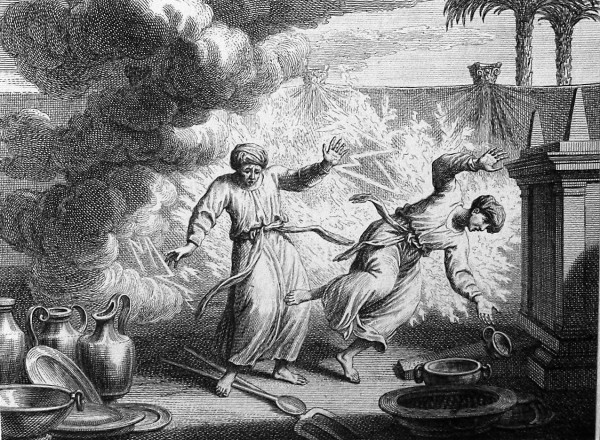 A Phillip Medhurst Bible illustration of Nadab and Abihu destroyed.