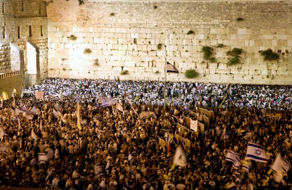 The Jewish People gather at the Western (Wailing) Wall in Jerusalem on Yom Yerushalayim. (Israel Tourism photo)