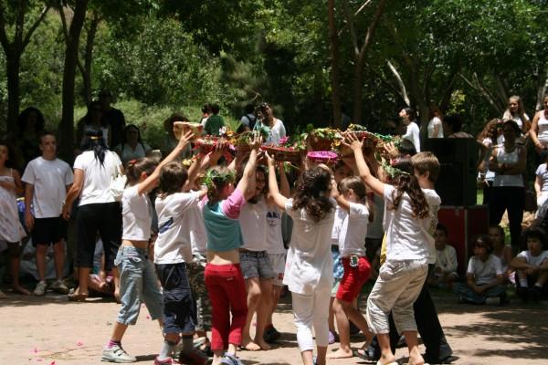 kibbutz, children, baskets, dance, Shavuot.