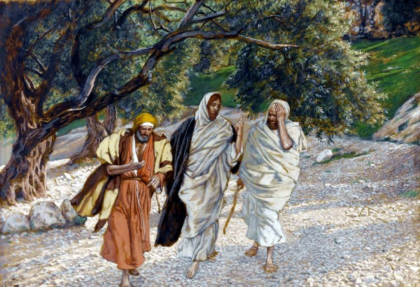 The Pilgrims of Emmaus on the Road by James Tissot