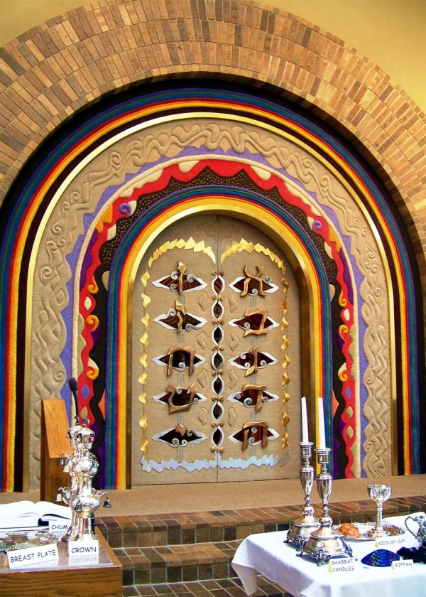 This elaborately decorated Aron HaKoshesh (Torah ark) houses and protects the Torah scrolls.