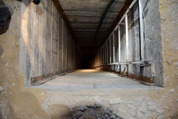 One of many Hamas terrorist tunnels uncovered during Operation Protective Edge last summer.  (MFA photo)