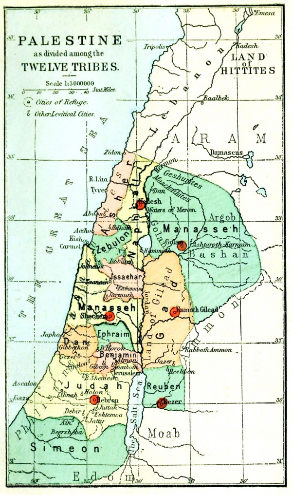 An 1889 map illustrating the division of the Land of Israel between the Twelve Tribes. (Palestine, by Conder)