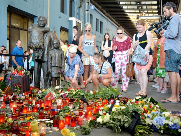 A commemorative event in July 2015 to honor the memory of Sir Nicholas Winton on the first platform at the Prague Main Railway Station at the sculpture, which is dedicated to him. The sculpture, which was created by Flor Kent, was unveiled on September 1, 2009