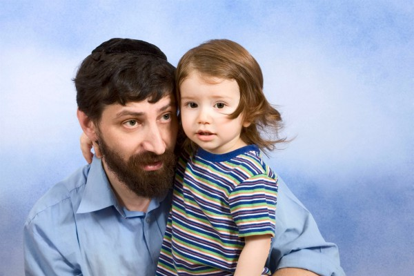A Jewish father with his two-year-old son