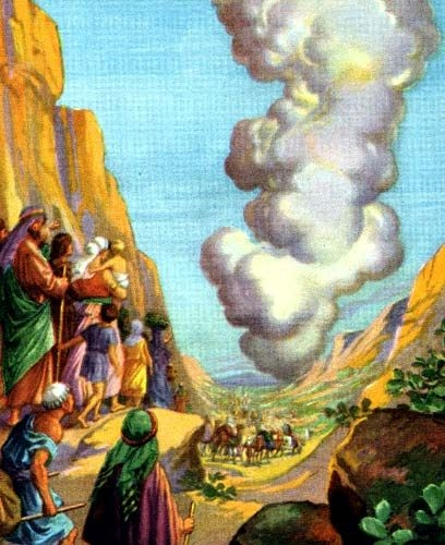 He Led Them by a Pillar of Cloud (Providence Lithograph Company Bible card published between 1896 and 1913)