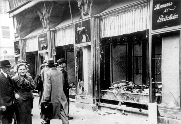 Broken glass littered the streets after Jewish-owned stores, buildings, and synagogues had their windows smashed on Kristallnacht, the beginning of Nazi Germany's Final Solution.