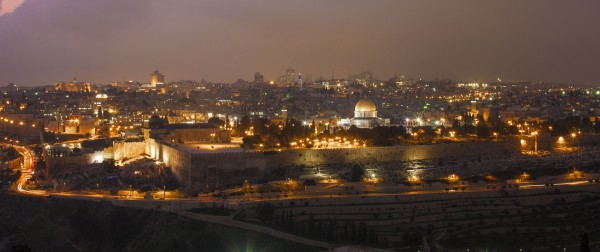 A night shot of the Temple Mount in Jerusalem.