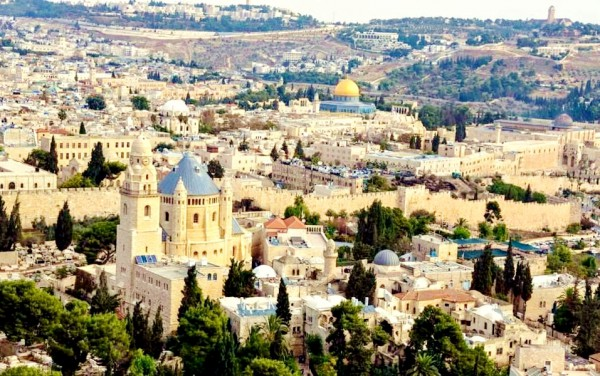 Aerial view of Jerusalem looking toward the Temple Mount and the Mount of Olives.