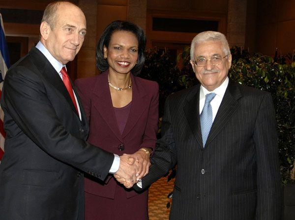 Olmert-Rice-Abbas-2007