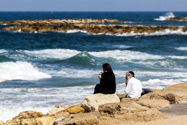 Mediterranean Sea-Israel-Orthodox couple-man and wife