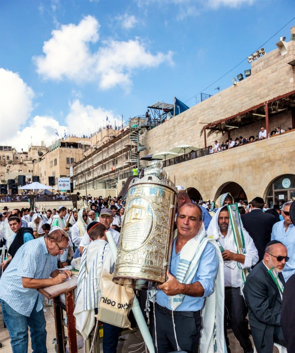 Kotel-crowds-Jewish prayer-Jerusalem-Sefer Torah
