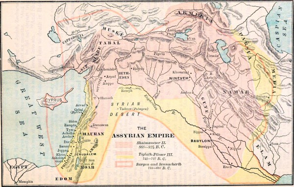 A map showing the influence of the Assyrian Empire during the 8th century BC. Amos likely prophesied in 762 BC, providing a 40-year window for repentance. The people did not listen, however, and Israel went into captivity in about 718 BC.