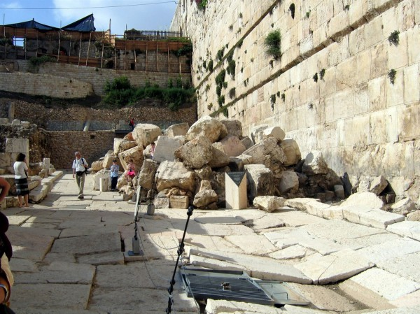These ruins at the base of the Temple Mount wall include stones that the Romans toppled from the Temple Mount above.