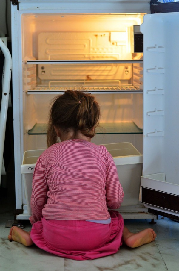 Hungry Israeli child searches an empty fridge for food.