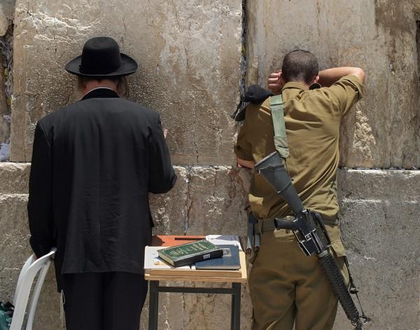 Western wall, orthodox man, Israeli soldier