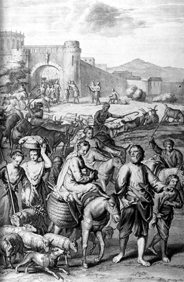 Abram and Lot Depart Out of Haran, by the illustrators of the 1728 Figures de la Bible