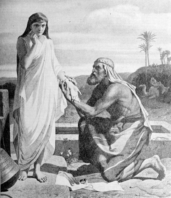 Jacob and Rachel at the Well (The Ideal Holy Bible, 1908)