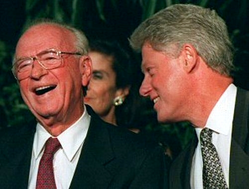 Yitzhak Rabin shares a laugh with US President Bill Clinton.