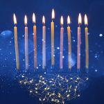 jewish holiday Hanukkah background with menorah candelabra)