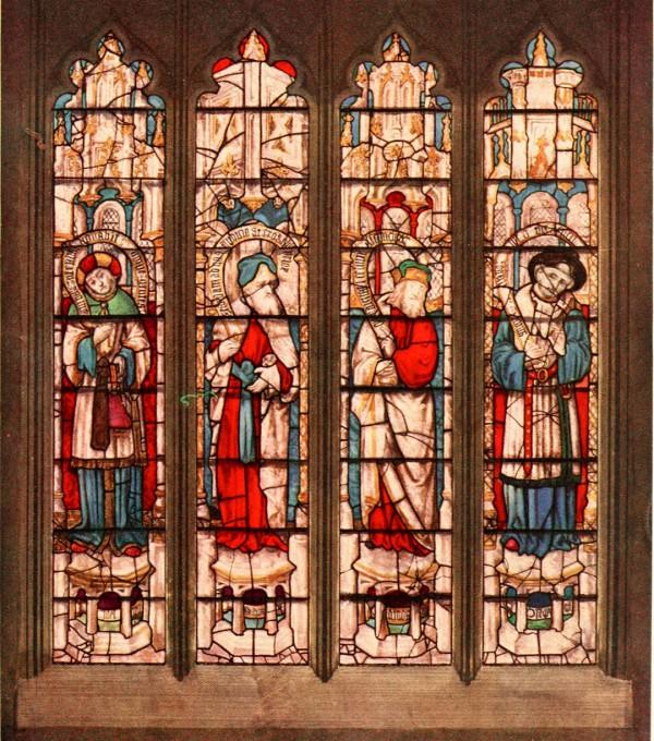 The prophets Joel, Zephaniah, Amos, and Hosea in St. Mary's Church in Fairford, England.