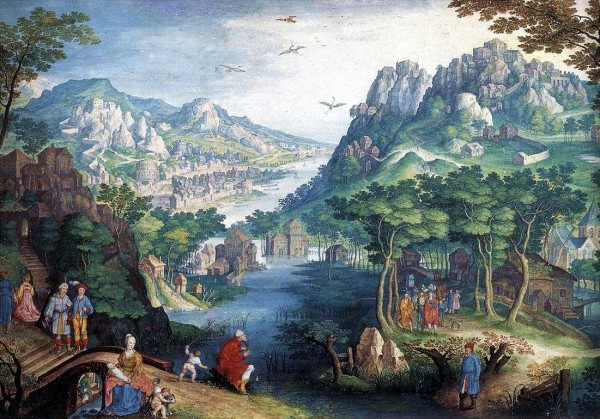 Mountain Landscape with River Valley and the Prophet Hosea, by Gillis vanKoningsloo